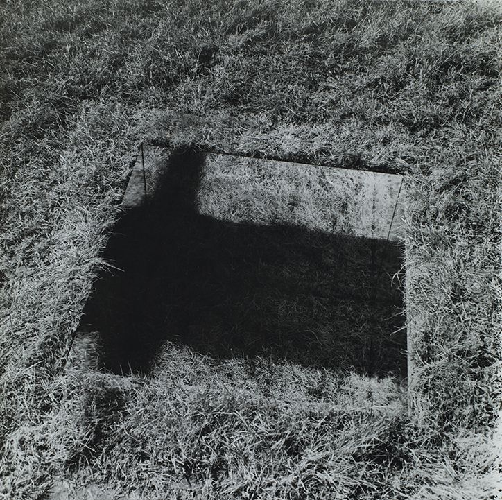 Mirror-Lined Pit (grass bottom) 1968 (first executed June 1969),	an invisible hole revealed by interior shadow