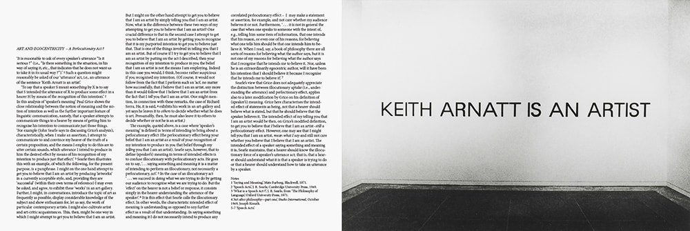 Art and Egocentricity – A Perlocutionary Act?, 1971.  Seven Exhibitions, Tate Gallery, London 1972
